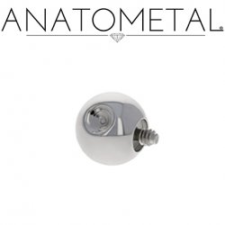 Anatometal Titanium Threaded Slave Dent Dimple Ball End 8 Gauge 8g