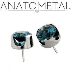 "Anatometal Titanium Threadless 6mm Prong-Set Faceted Gem End 18 Gauge 18g ""Press-fit"""