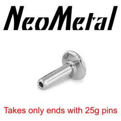 "14 Gauge 14g Labret Universal NeoMetal Threadless Titanium Flatback Labret Post 3/16"" Disk (Accepts Only 25g Pin Threadless Ends) ""press-fit"""