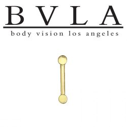 "BVLA 14kt Gold ""Disc Curve"" Barbell with Disc Ends 16 gauge 16g Body Vision Los Angeles"