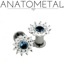 Anatometal Silver Sinflower Surgical Steel Plug Ear Gauge with threaded flatback 6 Gauge 4 Gauge 2 Gauge