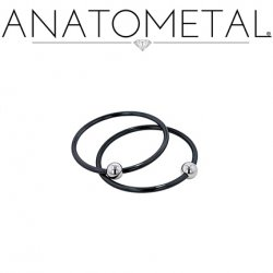 Anatometal Niobium Captive Ring with Surgical Steel Bead CBR 14 Gauge 14g