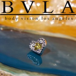 "BVLA 14kt & 18kt Gold ""Heart Harlequin 3.5mm"" Threaded End 18g 16g 14g 12g Body Vision Los Angeles"