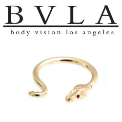 "BVLA 14kt Gold ""Serpent Ring"" Nose Nostril Septum Ring 16 Gauge 16g Body Vision Los Angeles"