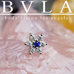 "BVLA 14kt & 18kt Gold ""Flower #2 4mm"" Threaded Gem End 18g 16g 14g 12g Body Vision Los Angeles"
