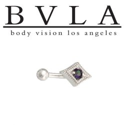 "BVLA 14kt ""Harlequin"" Yellow White Rose Gold Curved Barbell 14g Body Vision Los Angeles"