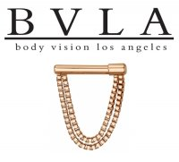 "BVLA 14kt Gold ""Dire Straights"" Septum Clicker Nose Ring 16 Gauge 16g Body Vision Los Angeles"
