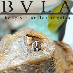 BVLA 14kt Gold Peace Sign Nostril Screw Nose Ring Bone Nail 20g 18g 16g Body Vision Los Angeles