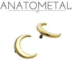 Anatometal 18Kt Gold Crescent Moon Threaded End 18g 16g 14g 12g