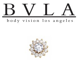"BVLA 14kt Gold ""The Rose"" 6mm Threaded End Dermal Top Genuine Diamonds 18g 16g 14g 12g Body Vision Los Angeles"