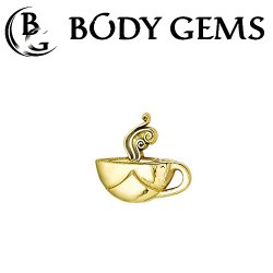 "Body Gems 14kt Gold Coffee Cup Threadless End 25g Pin (will fit 18g, 16g, 14g Universal Threadless Posts) ""Press-fit"""