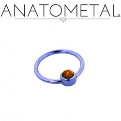 Anatometal Titanium Captive Gem Bezel Ring 16 Gauge 16g