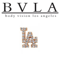 "BVLA 14kt & 18kt Gold ""LA"" Symbol Threaded Gem End Dermal Top 18g 16g 14g 12g Body Vision Los Angeles"