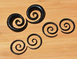 "Organic Black Horn Super Spirals 10g-1/2"" (Pair) 2.5mm-12.5mm"