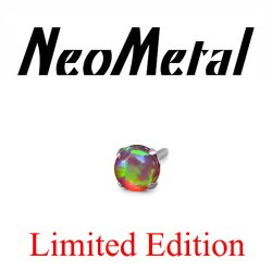 "18 Gauge 18g NeoMetal Limited Edition Threadless Titanium Prong-set Bubblegum Opal Cabochon Gem 2.0mm ""Press-fit"""