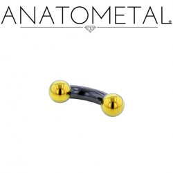 Anatometal Niobium Curved Barbell with Titanium Ball Ends 6 Gauge 6g