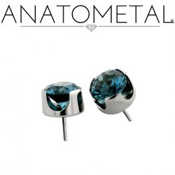 "Anatometal Titanium Threadless 4mm Prong-set Faceted Gem End 18 Gauge 18g ""Press-fit"""