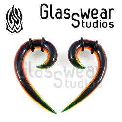 "Glasswear Studios Glass ""Nine"" Hanging Design Pair 8g - 00g"