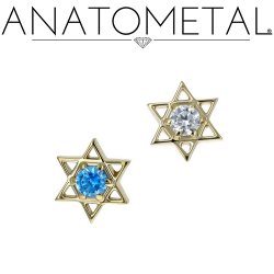 "Anatometal 18kt Gold ""Star Of David"" Threaded Gem End 18g 16g 14g 12g"