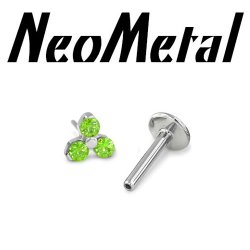 "18 Gauge 18g NeoMetal Titanium Threadless Flatback Labret Post with 3-Gem Trinity End ""Press-fit"""