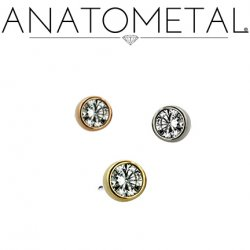 Anatometal 18Kt Gold Threadless Bezel-Set Diamond End 2mm 2.5mm 3mm 25g Pin (will fit 18g, 16g, 14g Universal Threadless Posts) Press-fit