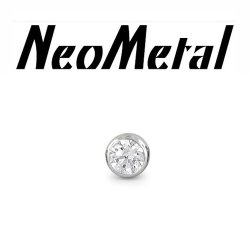"16 Gauge 16g NeoMetal Threadless Titanium 2.0mm Bezel-Set Genuine Diamond End ""Press-fit"""