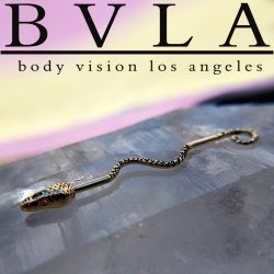 "BVLA 14kt & 18kt Gold ""Serpent"" Industrial Barbell with Gem Eyes 16 gauge 16g Body Vision Los Angeles"