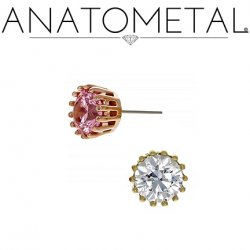 Anatometal 18kt Gold Cupcake Faceted Gem Threadless End 18g 16g 14g (25g Pin Universal) Threadless Posts Press-fit