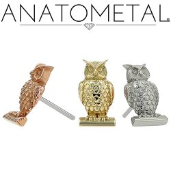 "Anatometal 18kt Gold ""Owl"" Threadless End 25g Pin (will fit 18g, 16g, 14g Universal Threadless Posts) Press-fit"