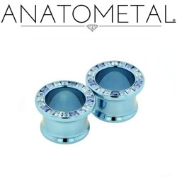 "Anatometal Titanium Princess-cut Gem Eyelet 1"" - 3"""