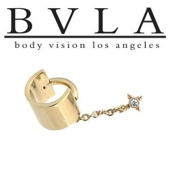 "BVLA 14kt ""Cuff with Mini Kandy"" Yellow White Rose Gold Cuff 14g Body Vision Los Angeles"
