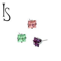 "Industrial Strength Titanium 4 Prong-set 2mm Princess Cut Threadless Gem End 18 Gauge 18g ""Press-fit"""