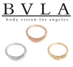 "BVLA 14kt Gold ""Janna"" Pave Texture Septum Clicker Helix Seam Ring 16 Gauge 16g Body Vision Los Angeles"