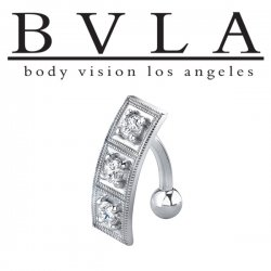 BVLA 14kt Gold Entrapment Genuine Diamond Navel Curved Barbell 14 Gauge 14g Body Vision Los Angeles