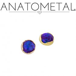 Anatometal 18kt Gold Threaded 2.0mm Prong-set Cabochon Gem End 18g 16g 14g 12g