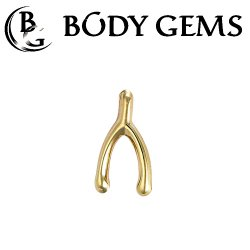 "Body Gems 14kt Gold ""Wishbone"" Threadless End 25g Pin (will fit 18g, 16g, 14g Universal Threadless Posts) ""Press-fit"""