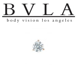 "BVLA 14kt & 18kt Gold ""3-Prong 3mm Gem"" Threaded End 18g 16g 14g 12g Body Vision Los Angeles"