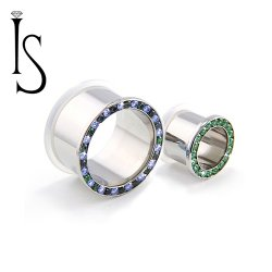 "Industrial Strength Titanium Single Flared ""Single Row"" Multi Gem Eyelets 8g - 1"""