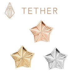 "Tether 14Kt Gold 5-Point Star Threadless End 25g Pin (will fit 18g, 16g, 14g Universal Threadless Posts) ""Press-fit"""