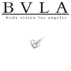 "BVLA 14kt & 18kt Gold ""Heart of Paul"" Gem Nostril Screw Nose Bone Ring Stud Nail 20g 18g 16g Body Vision Los Angeles"
