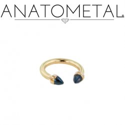 Anatometal 18kt Gold Circular Barbell with 18kt Gold Bullet Cone Ends 12g