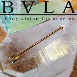 "BVLA 14kt & 18kt Gold ""Robin Hood"" Industrial Barbell 12g Body Vision Los Angeles"