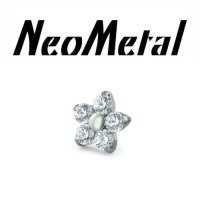 "NeoMetal Titanium Flower 2mm Gems Threadless End 25g Pin (will fit 18g, 16g, 14g Universal Threadless Posts) ""Press-fit"""