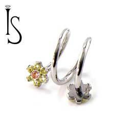 Industrial Strength Surgical Steel Double Flower Top Spiral Barbell 16 Gauge 16g