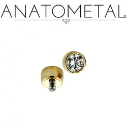 Anatometal 18kt Gold Threaded 1.5mm Bezel-set Gem End 18g 16g