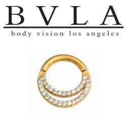 "BVLA 14kt & 18kt Gold ""Janesca 3/8"""" Nose Nostril Septum Clicker Hinged Ring 16 Gauge 16g Body Vision Los Angeles"