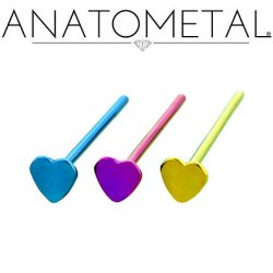 Anatometal Titanium 5mm Heart Nostril Screw Nose Ring Nail 20 Gauge 18 Gauge 20g 18g