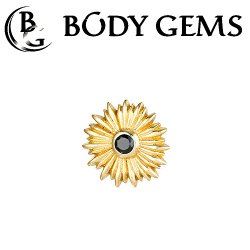 "Body Gems 14kt Gold ""Sunflower"" Threadless End 25g Pin (will fit 18g, 16g, 14g Universal Threadless Posts) ""Press-fit"""