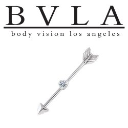 "BVLA 14kt & 18kt Gold ""Straight Through My Heart Arrow"" Industrial Barbell 14g Body Vision Los Angeles"