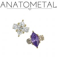 Anatometal 18kt Gold Prong-set Marquise Gem With Side Accents Threaded End Dermal Top 18g 16g 14g 12g 10g 8g